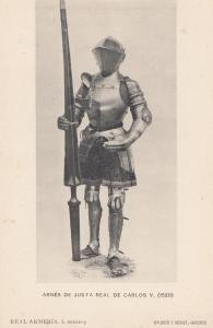 Charles V Carlos Armour Shield Weapon in 1520 Postcard