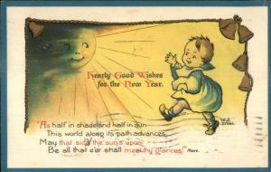 Ethel DeWees - Cute Kid Man in the Sun Fantasy Face NISTER Postcard c1910