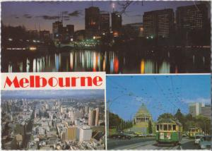 Melbourne, Australia, multi view, river and city lights, used Postcard