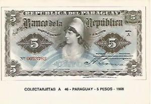 POSTAL 18224: 5 pesos de Paraguay 1908