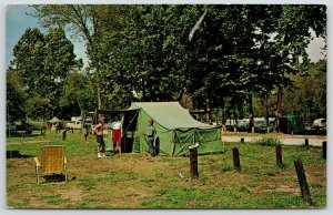 Lebanon MO~Bennett Spring State Park~Camp Ground Tent~Boy Ready to Fish~1950s PC