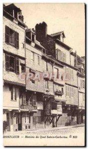 Old Postcard Honfleur Maisons du Quai Sainte Catherine Barber