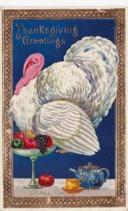 Thanksgiving With Turkey and Fruit 1912