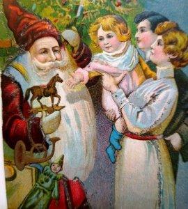 Santa Claus Christmas Postcard Embossed Glitter Victorian Long Beard Vintage