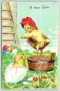 Easter Fantasy~Chick in Red Bonnet Balances on Cider Barrel~Chick in Egg Shell