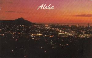 Hawaii Aloha Diamond Head Waikiki and Honolulu At Sunset 1998