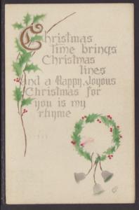 Christmas Time,Wreath,Bells Postcard