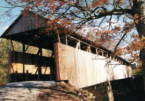 Oldtown Covered Bridge Photo Postcard & Awesome Reverse