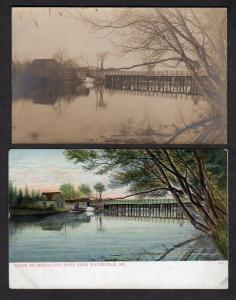 Lot 2 Messalons River Waterville Maine Postcards 1 Real Photo RP RPPC + UDB PC