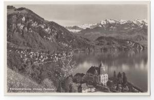 RP Switzerland Vitznau Park Hotel 1937 Real Photo Post Card