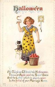 Halloween Postcard Old Vintage Post Card At Twelve O'clock on Halloween ...