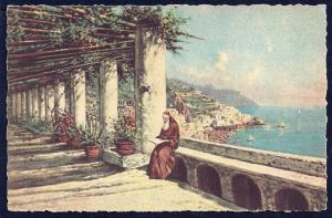 Capuchin Hotel Amalfi Coast Italy by Carelli unused c1940's