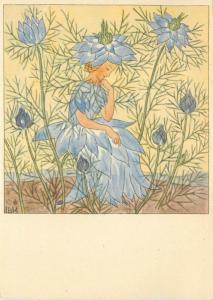 German Fantasy Art Postcard 5802 A/S Bohatta-Morpurgo Cornflower Fairy