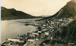 Aerial View Juneau Alaska RPPC Real photo postcard C-1920s 10889