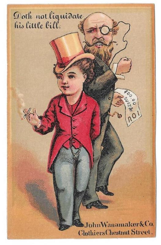 Victorian Trade Card John Wanamaker Clothier Philadelphia PA