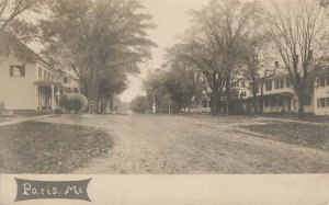 Paris ME Home Lined Dirt Street View Real Photo Postcard