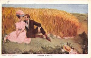 C Herzer~A Corner In Wheat~Victorian Lady & Gent Hid in the Field~Art Ser 727