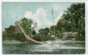 Water Slide Toboggan Fitches Bridge Elmira New York 1909 postcard