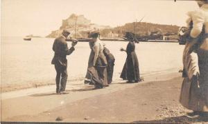 Baia Italy People at Beach Real Photo Antique Postcard J79295