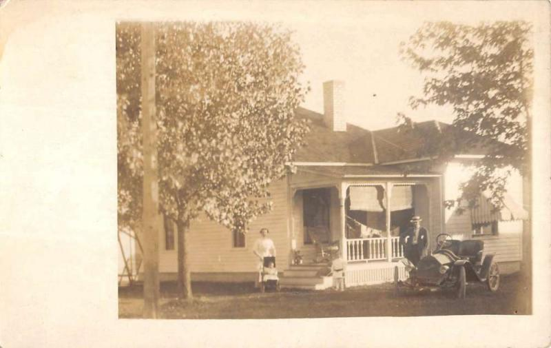 Historic Family Home Early Auto Real Photo Antique Postcard K7876509