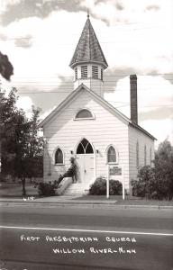 Willow River Minnesota~First Presbyterian Church~1950s Real Photo Postcard~RPPC