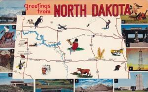 Greetings From North Dakota With Map