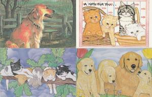 (4 cards) Pets are Golden - Cats Dogs - North Shore Animal League