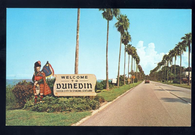 Dunedin, Florida/FL Postcard, Famous Edgewater Drive, Welcome Sign