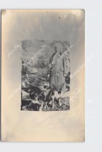 RPPC REAL PHOTO POSTCARD CUTE GIRL HAT COAT GERMAN SHEPPARD? DOG