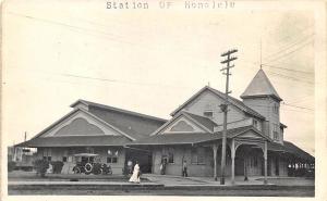 Honolulu HI Railroad Station Train Depot Old Car RPPC Postcard