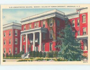 Linen WOMAN'S COLLEGE OF FURMAN UNIVERSITY Greenville South Carolina SC L7151