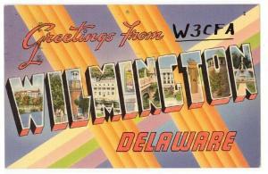 WILMINGTON, DE, Large Letter Linen postcard, 1956