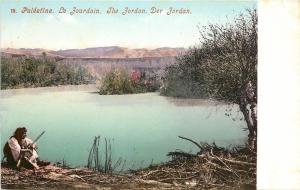 c1905 Postcard Palestine Man with Rifle at Jordan River, Middle East Unposted
