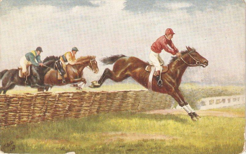 Steeplechasing  Tuck Oiette Postcard # 9509