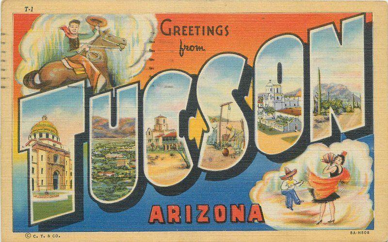 1945 large letters multi View Tucson Arizona Linen Teich postcard 9829