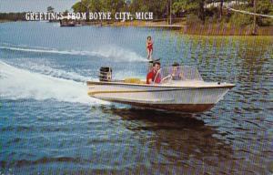 Michigan Greetings From Boyne City Water Skiing