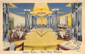 G22/ Houston Texas Postcard 1940 Linen Empire Room Rice Hotel