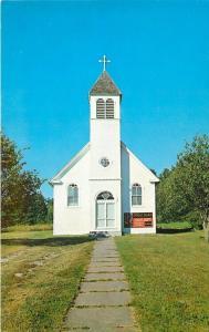 La Pointe~Madeline Island WI~Down Sidewalk to St Joseph Catholic Church~1950s PC