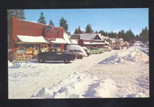 BIG BEAR LAKE CALIFORNIA 1950's CARS WINTER SNOW STREET