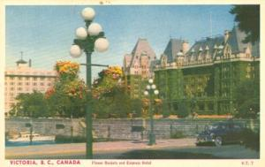 Canada, Victoria B.C., Flower Baskets and Empress Hotel 1...