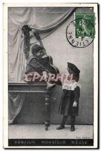 Postcard Old Child Negro Guitar Mode