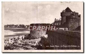 Old Postcard St. Malo Beach and Chateau