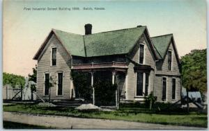 Beloit, Kansas Postcard First Industrial School Building Hand-Colored c1910s