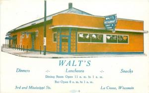 La Crosse Wisconsin~Walt's Restaurant~Luncheons~ART DECO Building~1940s Postcard
