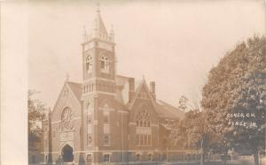 Osage Iowa~Big Full Tree ear the Congregational (UCC) Church~Sepia RPPC c1910