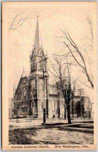 c1910s New Washington, Ohio Postcard German Lutheran Church Street View Unused