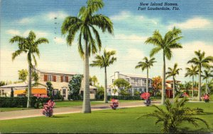 Florida Fort Lauderdaale Beautiful New Island Homes 1943 Curteich