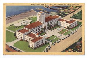 City Hall Civic Center Aerial View San Diego CA 1945 Linen