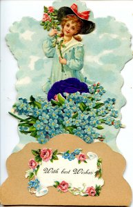 Greeting - Best Wishes. 3-D Die Cut, Unused Greeting Card, Not a Postcard