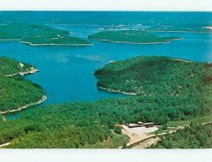 Aerial Roadrunner Inn Eureka Springs Arkansas Beaver Lake Freed  Postcard # 8381